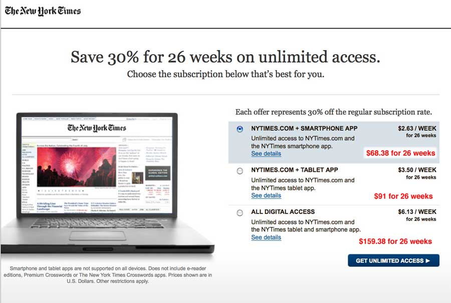 New York Times Digital Subscription Plans