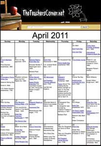 Teacheers Corner April Calendar