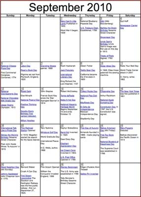 Teacher's Corner Sept. Calendar